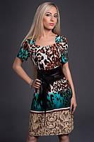 Платье женское с широким поясом из кожзама