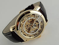 Мужские часы Omega skeleton, механика с автозаводом, светлый циферблат