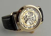 Мужские часы Omega skeleton, механика с автозаводом, золотой циферблат