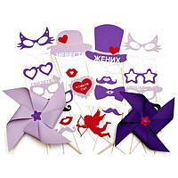 Бутафория для свадебной фотосессии в фиолетовом и сиреневом цвете