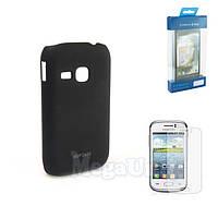 Пластиковый чехол + пленка для Samsung Galaxy Young (s6310/s6312) Черный
