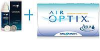 Контактные линзы Air Optix Aqua + раствор Unica Sensetive 350ml