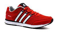 Кроссовки мужские летние Adidas Adizero, сетка/ нубук, красные/ белые , фото 1