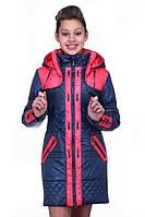 Удлиненная детская курточка для девочки с капюшоном