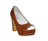 Женские туфли из рыжего замша, возможен отшив в других цветах кожи и замши