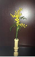 Мимоза из бисера в вазе, прекрасный подарок женщине (девушке) на 8 Марта