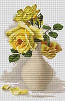 """Набор для вышивания крестиком (букеты) """"Желтые розы в вазе"""""""