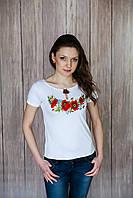Жіноча вишита футболка. Модель:Макова краса
