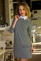 Короткое  платье с принтом гусиная лапка 1022