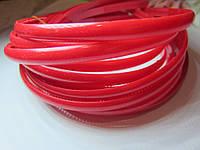 Основа для цветочного венка, обруч для волос пластиковый матовый простой 8 мм. Красный
