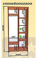 Двухдверные шкафы-купе 1000х600 h2200 (Эверест)
