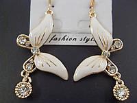 """Серьги 012772 """"Бабочки"""" в белом цвете"""
