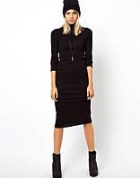 Женское чёрное платье из ангоры весна 2015