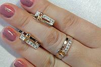 Комплект серебряных украшений  с вставками золота и цирконием шампань