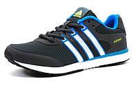 Кроссовки мужские летние Adidas Adizero, сетка/ нубук, темно-серые/ голубые/ белая подошва, фото 1
