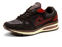 Кроссовки Demax (Air Max) мужские, кожа/ замша, коричневые/ красные, фото 1