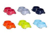 Moderna Smarty Смарти двойная миска пластиковая для собак и котов №1, 2 Х 330 мл, d-11 см