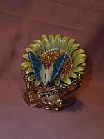 Шкатулка - подсолнух металлическая ювелирная