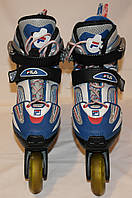 Ролики Fila X-One 29-32Eur=18,5-20,5см, Италия, ПочтиНовые, чёрный пластик сине-бело-серо-красный ботинок