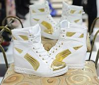 Д369 - Ботиночки сникерсы женские белые с золотом