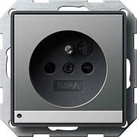 Розетка с заземляющим штырьевым контактом с защитой от детей LED подсветкой Gira E22 под сталь (117220)