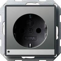 Розетка с заземляющими контактами с защитой от детей LED подсветкой Gira E22 под сталь (117020)