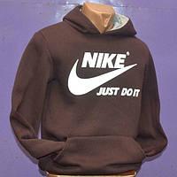 Мужская толстовка спортивная Nike коричневая с капюшоном