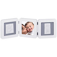 Рамка для слепков ножек и ручек  Baby art  Double  Print  Frame white & grey