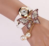 Женские часы белые с бабочкой и стразами