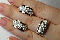 Серебряный набор - кольцо и серьги  с  золотыми накладками и мелкими фианитами