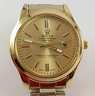 Мужские наручные часы Rolex 012815 серебристые с золотым циферблатом
