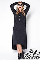 Стильное платье из ангоры с капюшоном удлиненное сзади для пышных дам