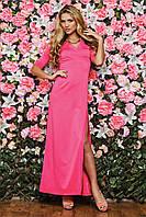 Обтягивающие длинное розовое платье в пол  с разрезом