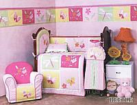 Детский спальный комплект в кроватку Beetle для девочек 90х115, сатин, защита, 100% хлопок ARYA Турция