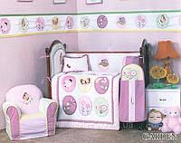 Детский спальный комплект в кроватку GARDEN для девочек 90х115, сатин, защита, 100% хлопок ARYA Турция