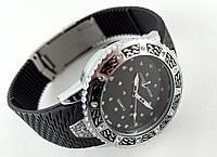 Часы женские - Ulysse Nardin - Star на черном каучуковом ремешке, серебристый корпус с кристаллами