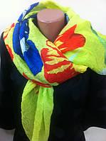 Лимонный  шарф   парео с яркими цветами