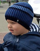 Детская Шапка М-3 в полоску, р.52-56, джинс, т.серый, хаки, лён, св.серый