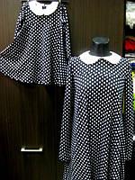 Комплект одинаковых платьев мама и дочка черное в белый горошек с  белым воротничком
