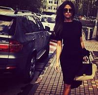 Платье трикотажное черное основа образа , короткий рукав