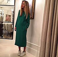 Платье свободного кроя зеленого цвета в длине миди