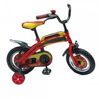 Велосипед 2-х колес 12'' 141207  со звонком, зеркалом, с вставками в колесах