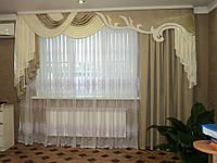 Ламбрекен со шторой из атласной ткани №120