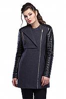 Молодежное женское пальто кашемир с вставками из кожзама
