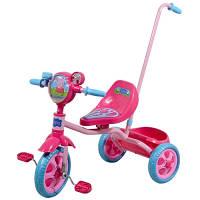Велосипед детский 3-х колесный лицензионный - PEPPA (ручка, масс. сид, звонок, корзина, пропеллер)