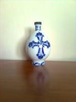 Графин для святой воды с крестом, объём 0,5 л , фарфор, роспись кобальтом