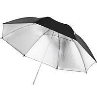"""Зонт серебристо-черный 33"""""""