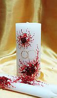 """Набор свечей """"Свадебные кольца"""" в красном цвете."""