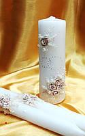 """Набор свечей """"Свадебные кольца"""" в бежевом цвете."""