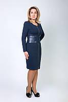 Темно синее платье с вставками кожи